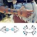 2016 Bohemian Tibet Silver Bracelets & Bangles For Women Beach Vintage Turquoise Charm Armband Arm Cuff Indian Boho Jewelry