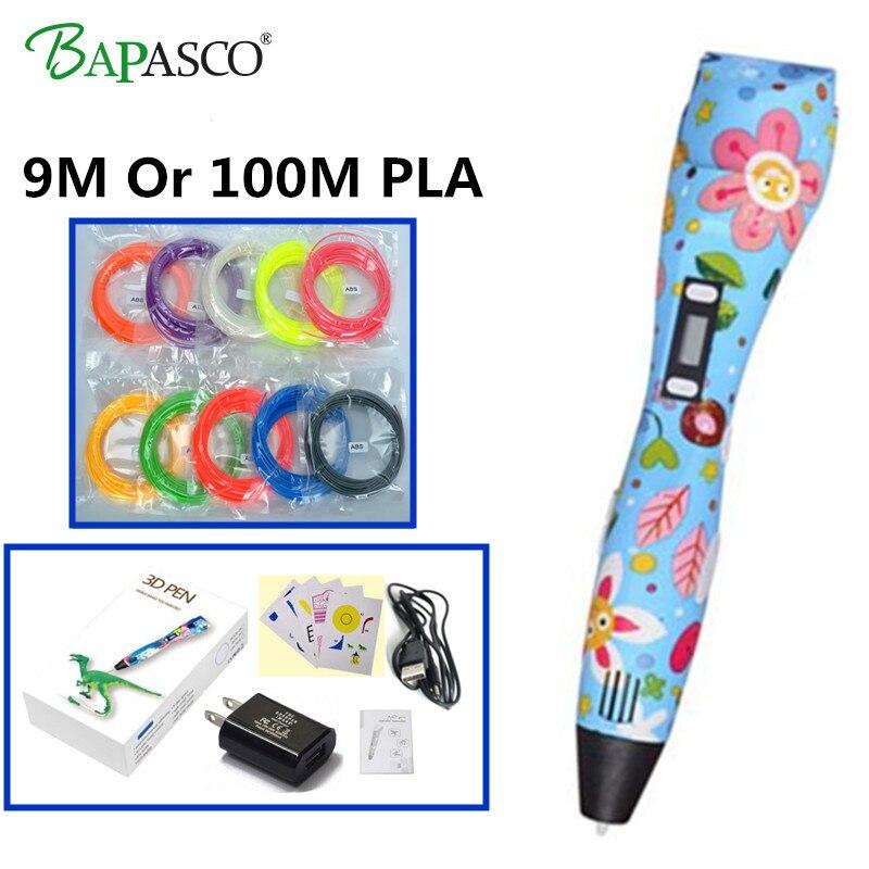купить Bapasco Factory 3D Pen 2018 Newest High-tech 3D Magic Pen USE ABS/PLA/PCL Filament 5V USB Portable Printing Pen 3D Free shipping по цене 1557.14 рублей