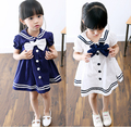 Children girls dresses 2016 new summer baby girl sailor style dress for Girls kids Lapel Navy cotton dress with big bow tie