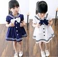 Crianças vestidos de meninas 2016 novo bebê menina verão vestido estilo marinheiro para meninas crianças lapela marinha vestido de algodão com big bow tie