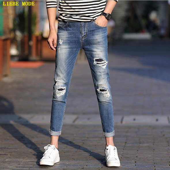 2017 Man Skinny Jeans Slim Hip Hop Pencil Pants Hole Destroy Washed Casual Ripped Jeans Homme For Fashion Men Big Size Clothing