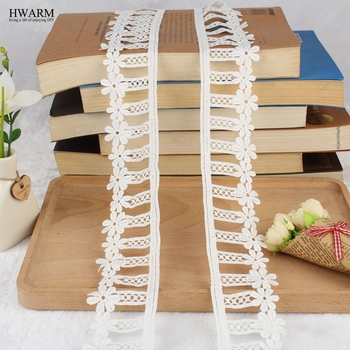 10yard 6.3cm lace fabric ribbon wedding decoration for home gift quality single-sided milk silk water-soluble embroidery lace 1