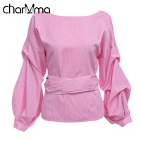 CharMma Casual Pink Striped Blouse Shirt Women Sexy Summer Backless Three Quarter Lantern Sleeve Blouse Blusas