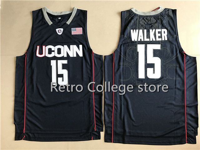 #15 Kemba Walker UCONN Retro Throwback Stitched Basketball Jersey Sewn Camisa Embroid Retro throwback College basketball Jersey