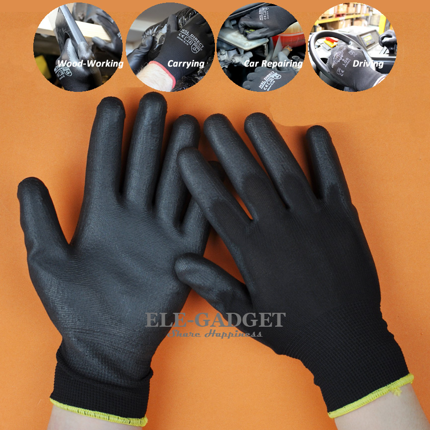 1 Pair PU Coated Working Safety Gloves Nylon Knitted Gloves For Driver Worker Builders Gardening Protective Gloves 1 pair nylon pu palm coated protective safety work gloves garden grip builders
