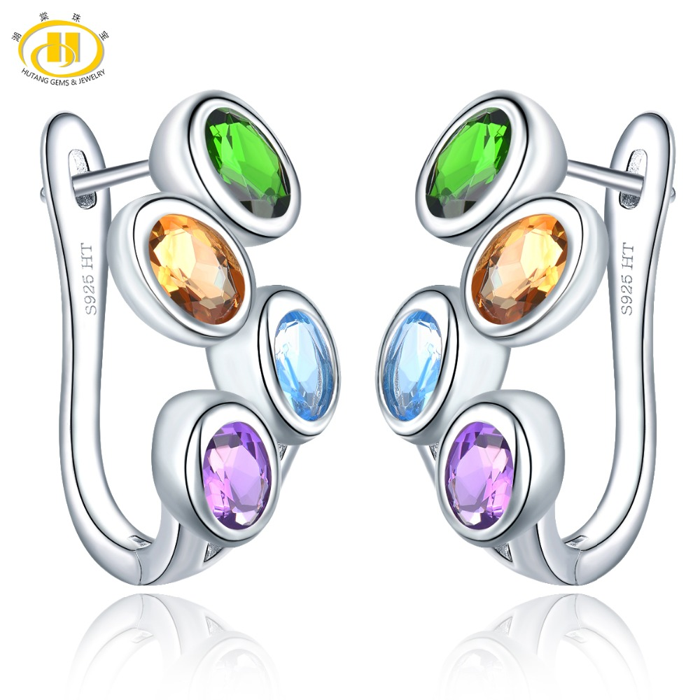 Hutang Colorful Gemstone Hoop Earrings 925 Sterling Silver Natural Amethyst Citrine Blue Topaz English Lock Jewelry for Women's-in Earrings from Jewelry & Accessories    1