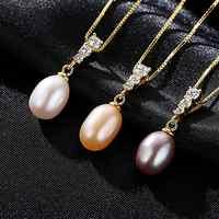 S925 esterlina colar de prata colar de pérolas de água doce genuine colar de pérolas de ouro pingente de colar para mulheres Festa de Casamento