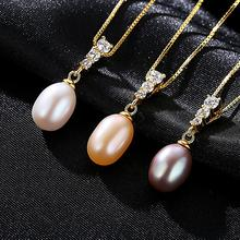 s925 sterling silver necklace freshwater pearl gold pendant for womens genuine Wedding Party
