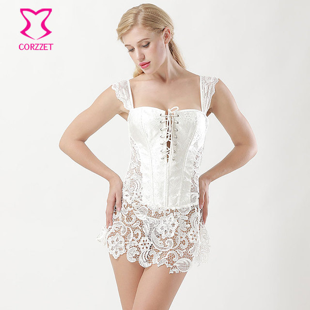 Victorian White Floral Lace Wedding Sexy Corset Lingerie Corpetes e  Corselet Plus Size Corsets And Bustiers e63fa41347d1