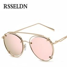 RSSELDN Fashion Round Sunglasses Women Original Brand Designer Coating Vintage Sun Glasses UV400 Colorful Pink oculos de sol
