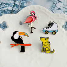 Red Bird Toucan Dog Skate Enamel Brooches Button Pins Denim Clothes Buckle Badge Animal Sports Jewelry Gift for kids(China)
