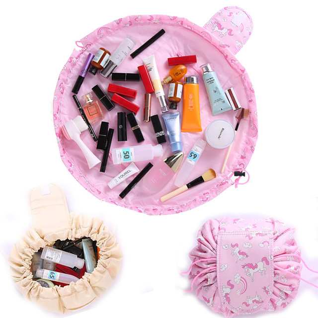 eff90b1a04e9 US $4.99 |Lazy Quick Pack All In One Drawstring Makeup Bag Portable Travel  Cosmetic Bag Large Capacity Make up Organizer for Women Girls-in Cosmetic  ...
