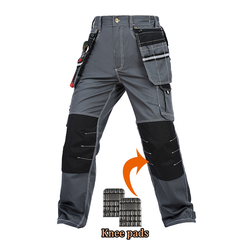 все цены на Men working pants multi-functional pockets work trousers with knee pads high quality wear-resistance worker mechanic cargo pants