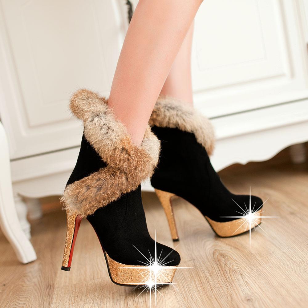 The new autumn and winter fashion high heel boots real rabbit fur matte  sequins boots women's cute boots fine with cashmere-in Ankle Boots from  Shoes on ... - The New Autumn And Winter Fashion High Heel Boots Real Rabbit Fur