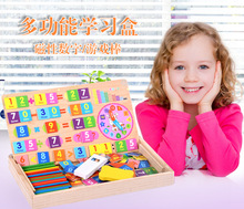 Free shipping Kids Magnetic multi-function digital arithmetic learning Puzzle box, Wooden children math early education puzzle