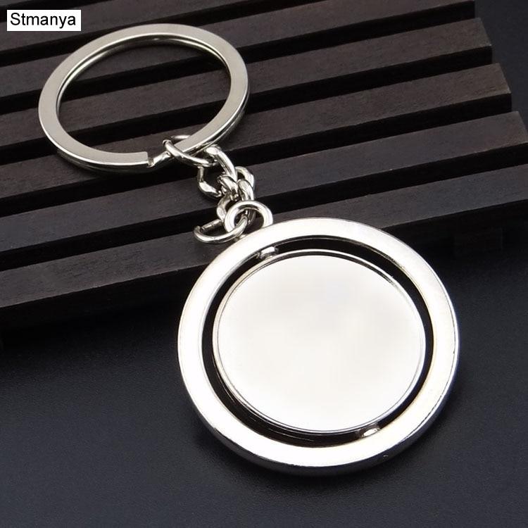 Round Blank 360 Rotating Metal Tag Keychain Creative Car Keychain K1552