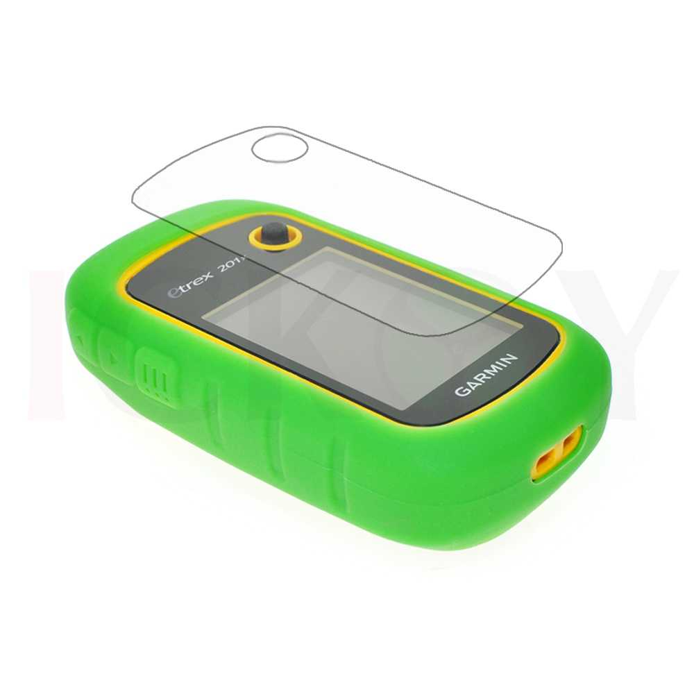 ICKOY Handheld GPS Silicon Rubber Protect Green Case Cover + LCD Screen  Protector for Garmin eTrex 10 20 30 10x 20x 30x 201x
