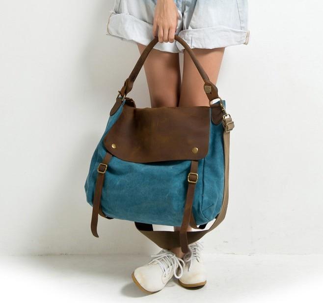 2018 women leather canvas handbags ladies vintage designer cross bodys bags  for women shoulder bags female 43a839203011f