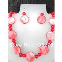 Commercio all'ingrosso Naturale Shell Gioielli 6-20mm Colore Rosso Madre Di Perla Orecchini Collana Di Gioielli Da Sposa Prom Party vacanza