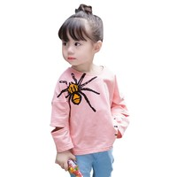 Spring Autumn Children Long Sleeve spider Printed Tees Baby Girls T shirt Baby girls Tops Clothing Shirts
