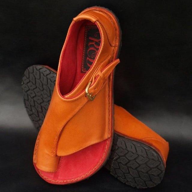 2019 Women Shoes Soft Genuine Leather Fashion Sandal Female Flat Sandals Women Casual Summer Beach Shoes Female Buckle