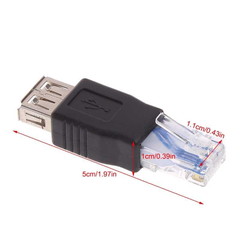 USB نوع الأنثى إلى RJ45 الذكور شبكة إيثرنت محلية راوتر المقبس محول القابس