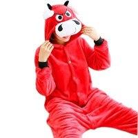 2017 Pijama Feminino Inverno Flannel Pijamas De Bichos Adults Pajamas For Women Red Cow Plush Onesie
