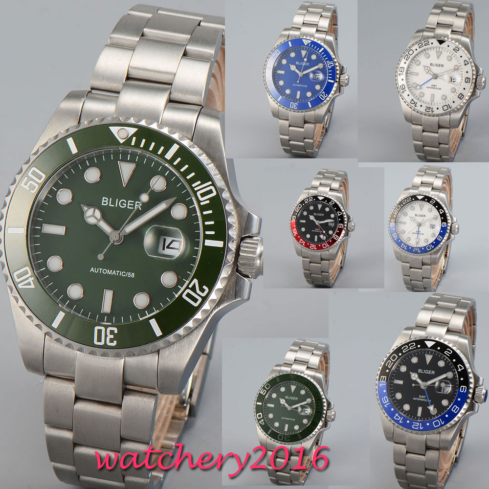 43mm Bliger Black White Green Blue Dial Luxury Brand SS Band Romantic Sweet gift GMT Automatic Movement men's Watch цена