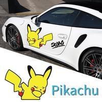 car sticker Tide Cartoon Pikachu Creative Sticker cartoon pattern for Car door car decor Waterproof and sunscreen
