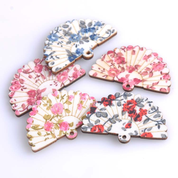 Charms Scrapbooking Sewing Crafts Cute Multicolor Wood for Diy One-holes/31x48mm/Mt0043
