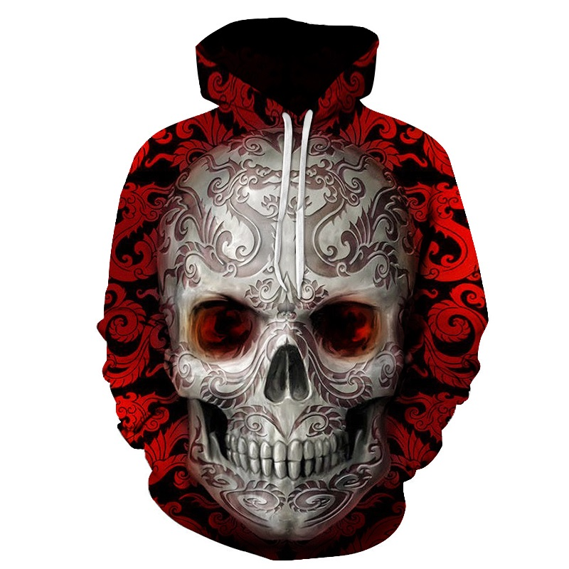 Hot hoody Red 3d Skull Hoodies Men Women Fashion Winter Spring Sportswear Hip Hop Tracksuit Brand Hooded Sweatshirt Dropship