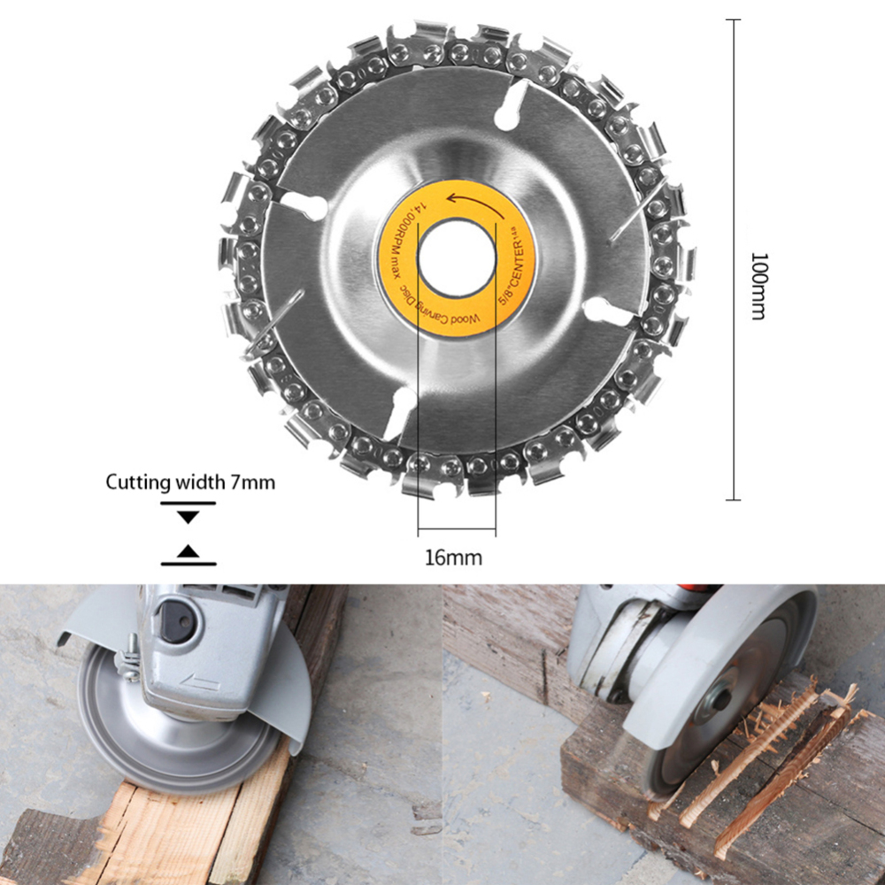 4 Inch Carbide Wood Carving Disk Grinder Disc Chain Woodworking Saw Blade Cutting Blade Wood Slotted Saw Blade Angle Grinder in Saw Blades from Tools