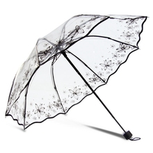 Transparent Folding Umbrella Thicken Three-folding Advertising Women Umbrella Rain Sunny And Rainy Umbrella Parasol