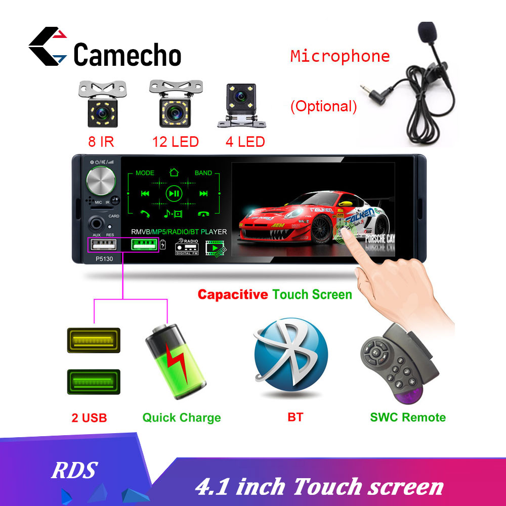 Camecho Autoradio 1 Din Car Radio 4 1 Bluetooth Touch Screen RDS USB AUX MP5 Video