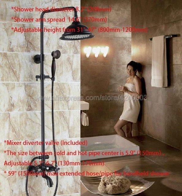 Robinet de douche en Bronze frotté à lhuile | Ensemble de salle de bain avec pulvérisateur à main, double poignées, robinet mitigeur de baignoire Krs450
