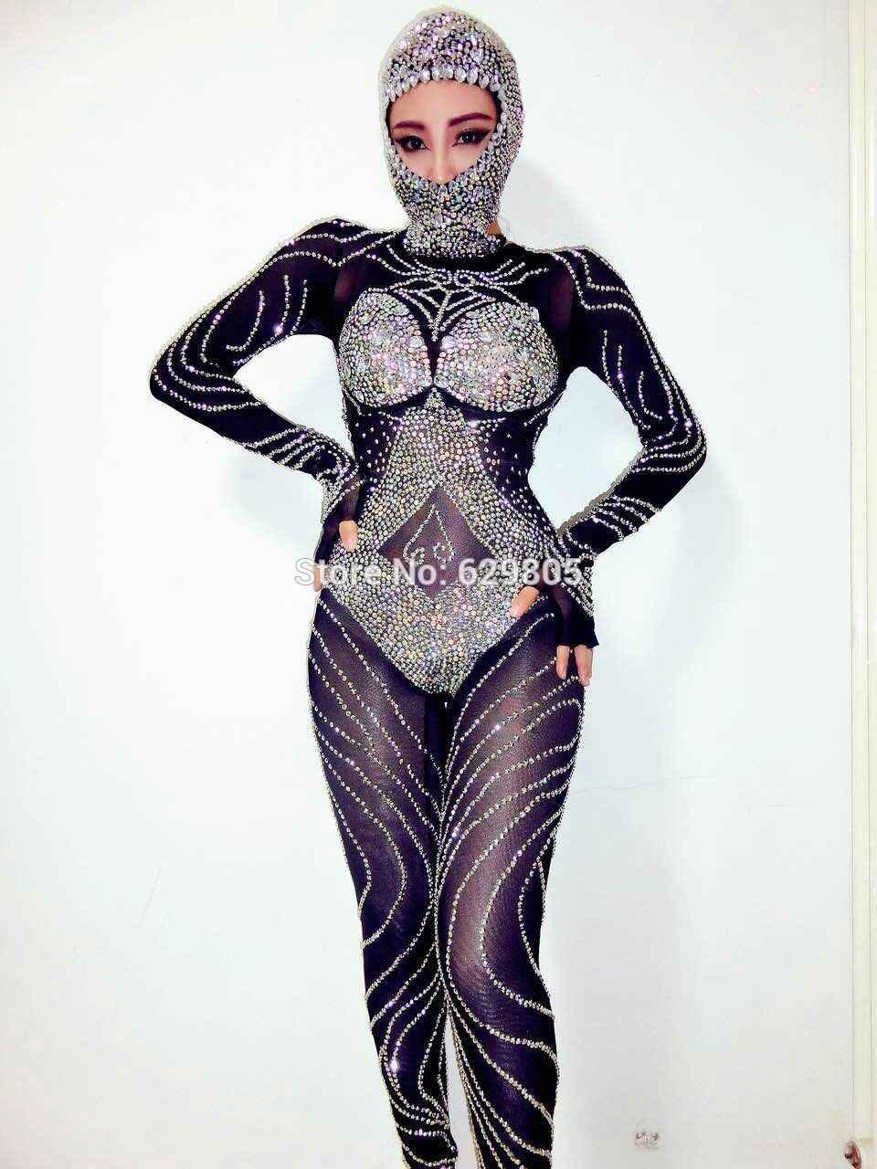 Новые модные блестящие черные стразы комбинезон Блестящий наряд блестящие пикантные головной убор Детский костюм для вечеринок тела костюмы Одежда для танцев
