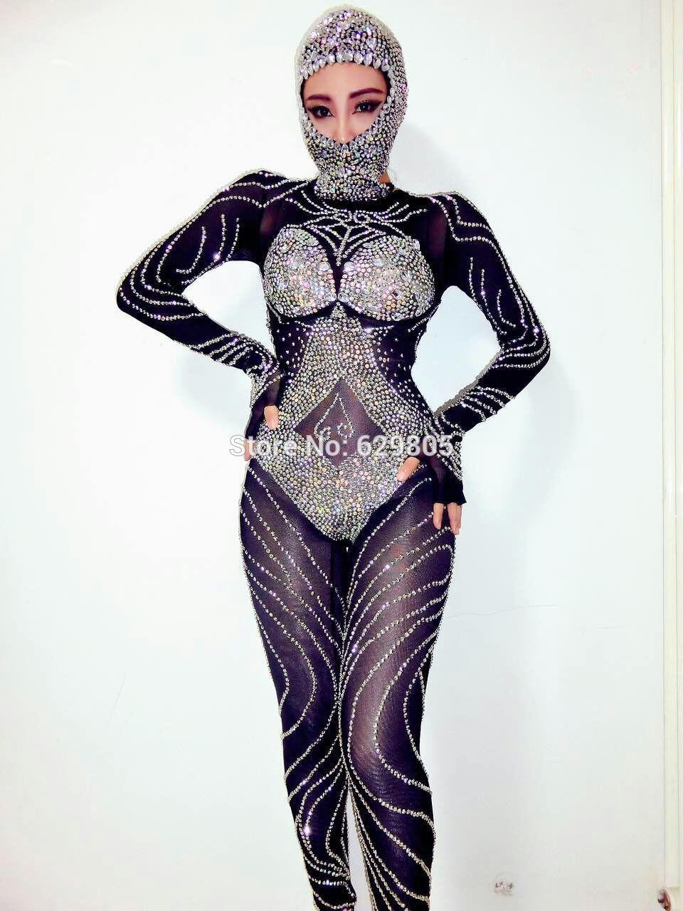 Nouveau Mode Glisten Noir Strass Salopette Clignotant Outfit Brillante Sexy Coiffe Partie Costume Corps Costumes De Danse Usure