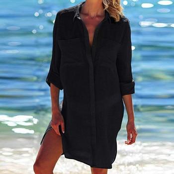 2019 Solid Women Swimwear Beach Cover Up Perspective Beach Dress Kaftan Beach Wear Blouse Shirts Pareos De Playa Saida De Praia 6