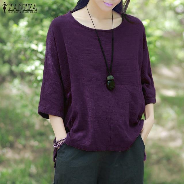 2020 ZANZEA Summer Blouse Women O Neck Short Sleeve Casual Loose Solid Work Shirt Cotton Linen Top Party Baggy Blusas Plus Size