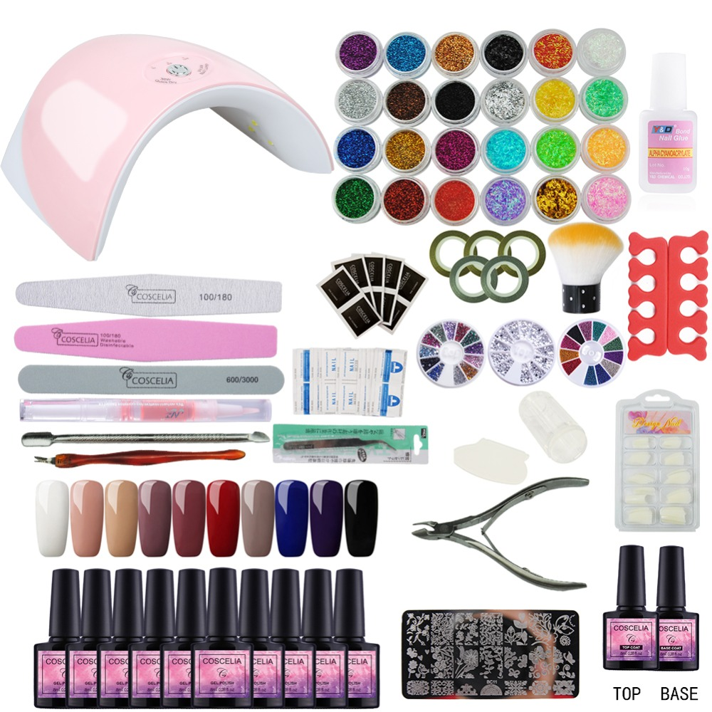 36 w UV GEL Lampe Pour Nail & 10 Couleur Gel Nail Set Polonais Nail Art Outils Pour Manucure Ensemble kit Tout Pour la Manucure Nail Extension Kit