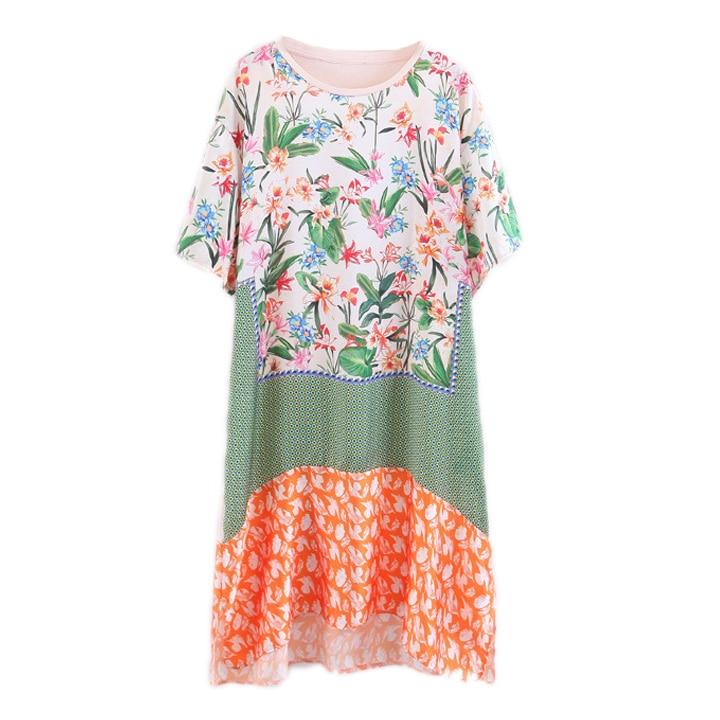 Me  Fashion women Flower print, satin dress, female European wind, summer 2017 short sleeve, neck loose, thin, long
