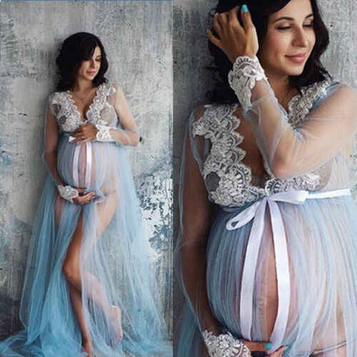 New 2018 Summer  Women Pregnant Maternity Gown Photography Props Costume Lace V neck Long Maxi Dress