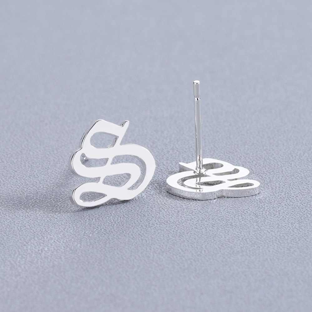 2538902752384 26 Old English Custom Stud Earrings For Women Girls Stainless Steel Jewelry  Cheap Capital Initial Alphabet Letter Earring Gift