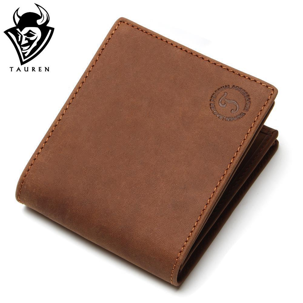 Crazy Horse Leather Men Wallets 2018 New Arrival Man Brand Design Purse Card Vintage Wallet Holder Short Fold  Genuine Small Bag crazy horse leather billfolds wallet card holder leather card case for men 8056r 1