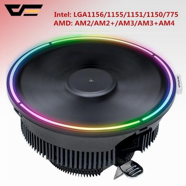Darkflash Go ventilador de enfriamiento Led para CPU, disipador de calor para refrigeración de PC, 3Pin, AMD, silencioso, LGA/115X/775/AM3/AM4