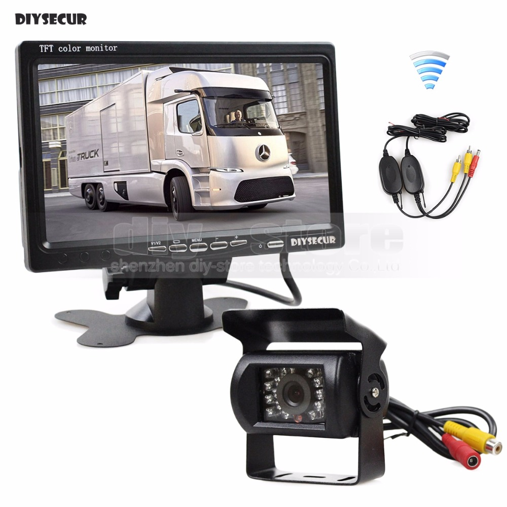 DIYSECUR Wireless 7inch Rear View font b Car b font Monitor IR Night Vision Waterproof CCD