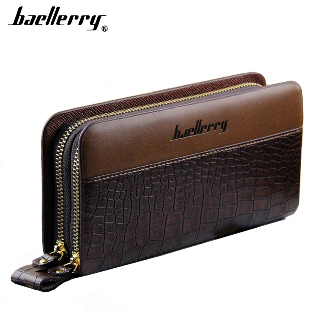 Baellerry PU Leather Men Clutch Bag Men Wallets Large Capacity Double Zipper High Quality Multifunction Fashion Wallet For Men vintage genuine leather wallet high quality large capacity men s id card wallets with phone bag clutch multifunction male purses