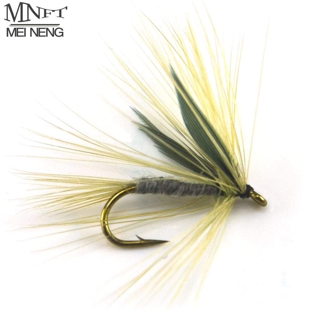 MNFT 10PCS Grau Farbe Winged Trockenen Mayfly Forelle-fliegen-fischen-köder Köder BLAU AUFRECHT Künstliche Köder Locken Haken 10 #