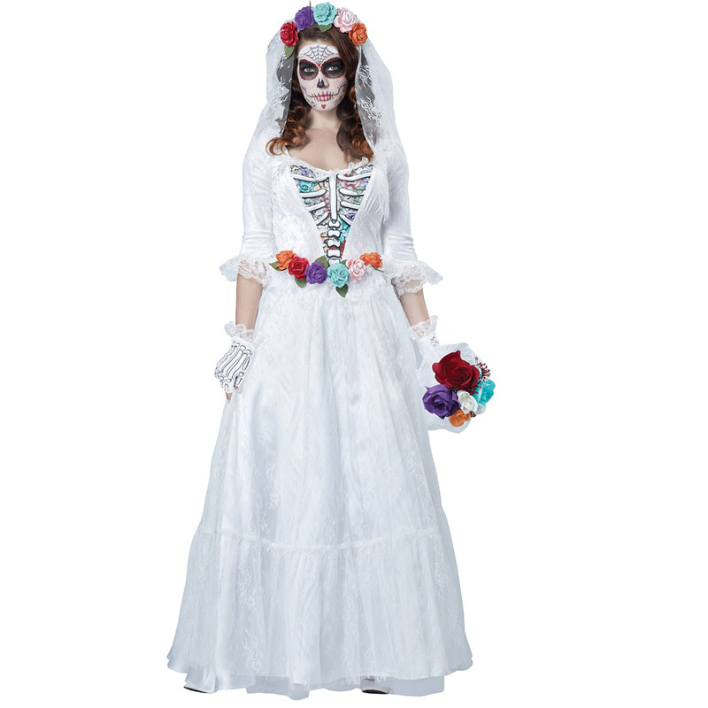 Free shipping horrible costume Women Zombie Bride Halloween Costume devil Party Dress white bride Costumes 40079