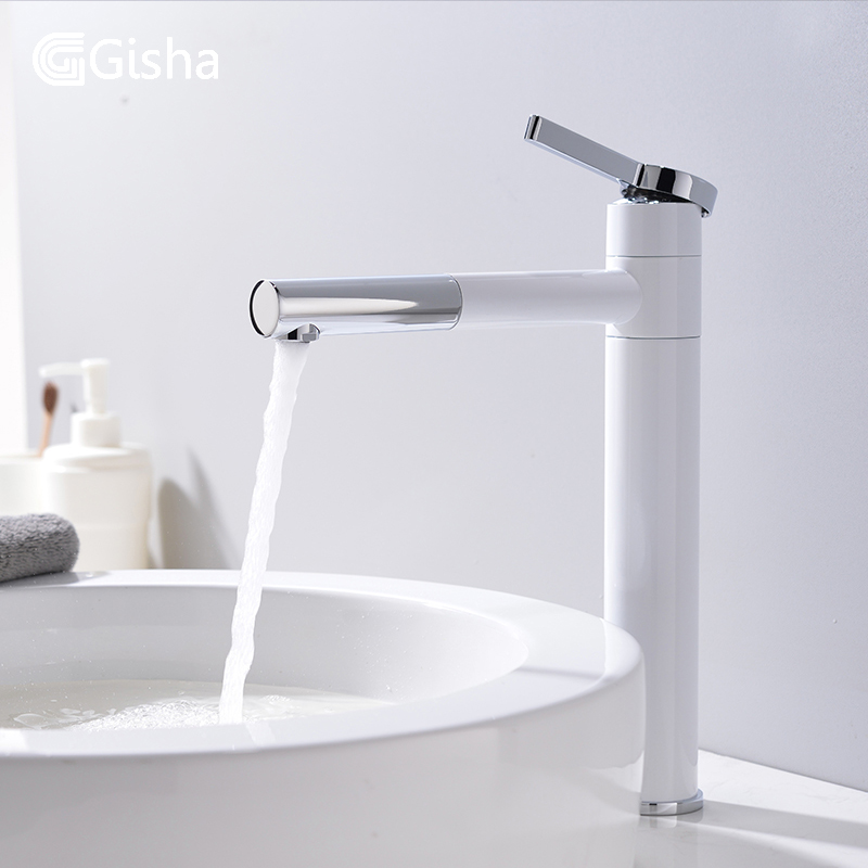 Gisha Basin Faucets Solid Brass Chrome Modern Bathroom Sink Faucet Single Handle Washbasin Hot Cold Mixer